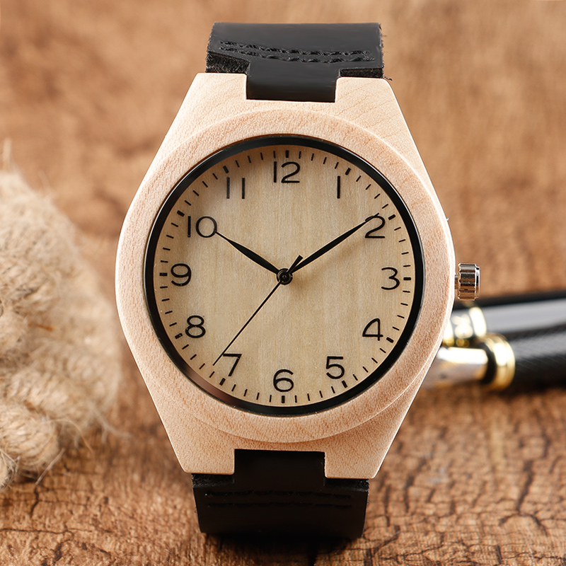 Cute Minimalist Nature Wood Watch Men Creative Black Leather Band Women Watches Arabic Number Analog Wristwatch Gift 2018 New simple brown bamboo full wooden adjustable band strap analog wrist watch bangle minimalist new arrival hot women men nature wood