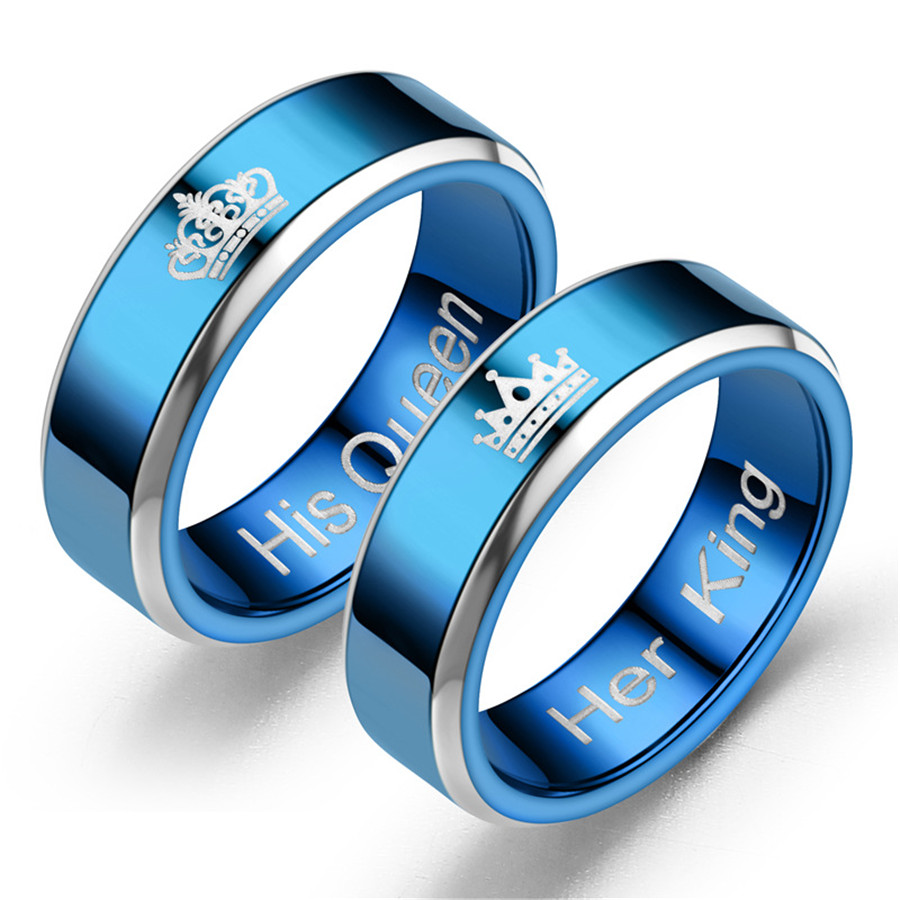 Her King His Queen Couple Wedding Bands Ring Stainless