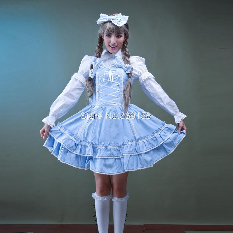 New High Quality Blue/Pink Straps Lace Bow Sweet Lolita Dress Christmas Princess Party Dresses With