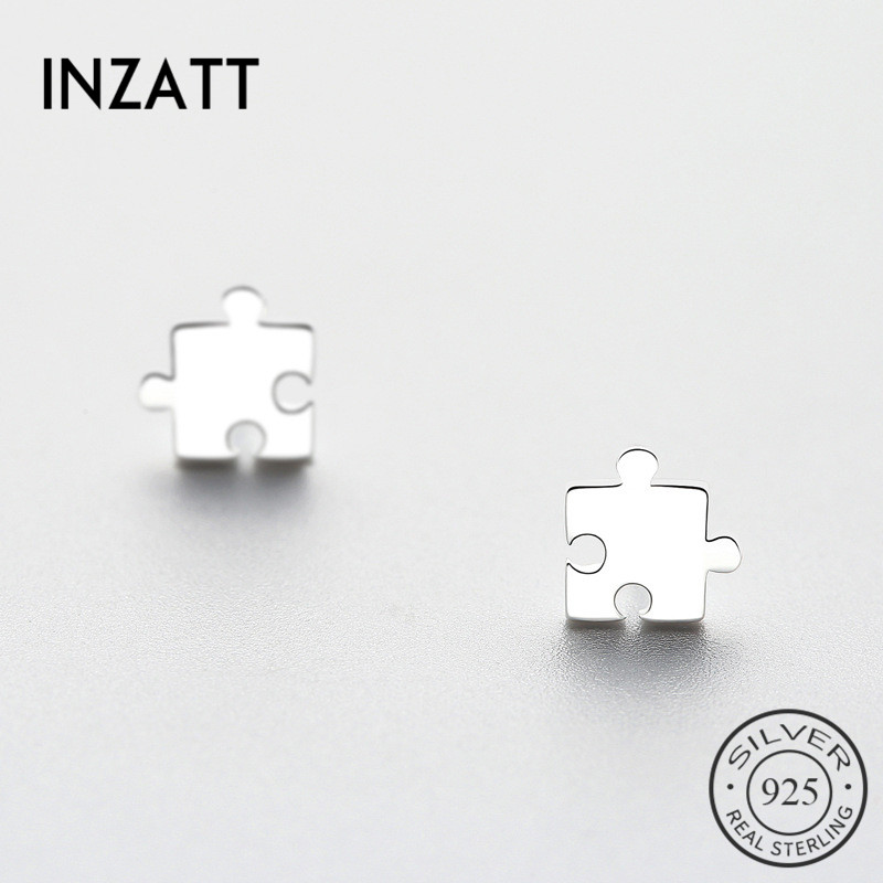 INZATT  Geometric Jigsaw Stud Earrings 2018 For Women Gifts Trendy Real 925 Sterling Silver Fashion Jewelry Accessories  Bijoux