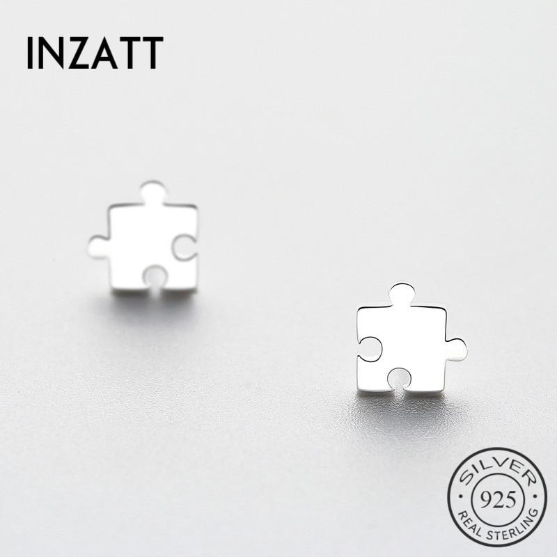 INZATT  Geometric Jigsaw Stud Earrings 2018 For Women Gifts Trendy Real 925 Sterling Silver Fashion Jewelry Accessories  Bijoux