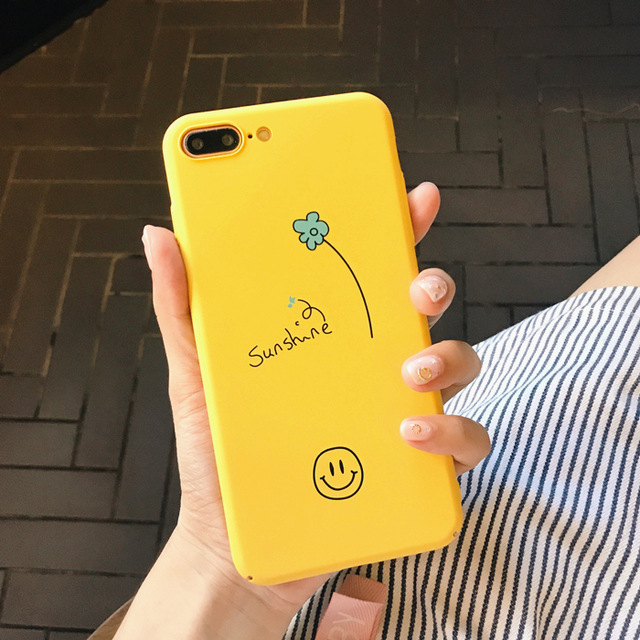 Yellow hand painted smiling face for apple X phone shell