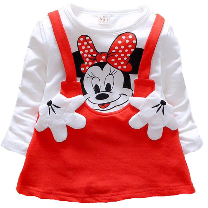 Infant Girls Dress Clothing Baby Kids Princess Party Mickey Minnie Causal Dresses for Newborn Toddler Children Cartoon Clothes
