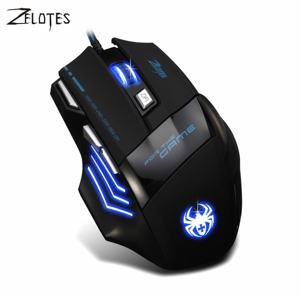 ZELOTES 2017 5500 DPI 7 Taste LED licht Optische Maus sem fio USB Verdrahtete Spiel-mäusemäuse Für Pro Gamer Computer gaming maus