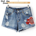 Plus Size Floral Bordados Ripped Denim Shorts Jeans 4Xl 5Xl de Grandes Dimensões Das Mulheres Short Jeans Denim Shorts Jeans Casual Pantalones
