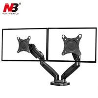 NB F160 Gas Spring 360 Degree Desktop 17 27 Dual Monitor Holder Arm Full Motion Dual Arm Monitor Mount Bracket