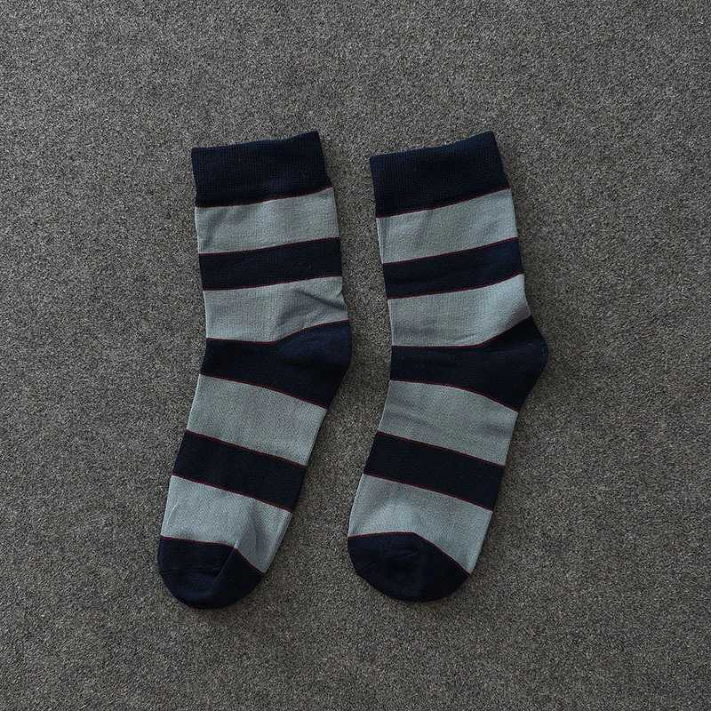 6 Pairs/Lot Cotton Men Socks Stripe Design Warm Crew Spring Fall Dress Male Socks Without Box One Size