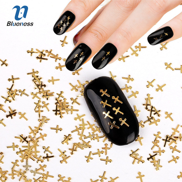 Metal Cross Design Charms 3d Nail Art Decorations 1000 Pcs Gold
