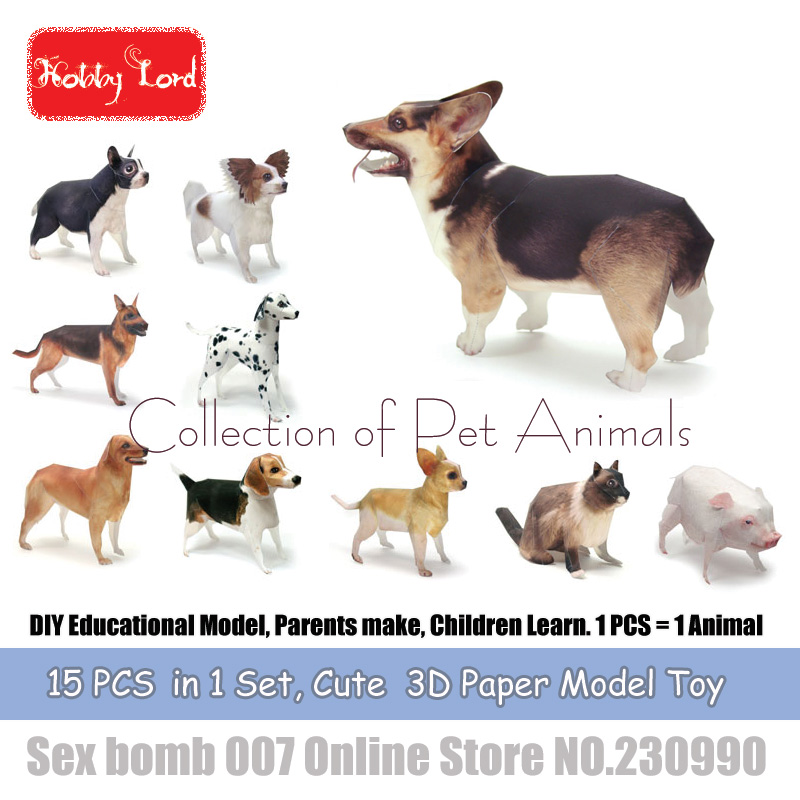 15 PCS in 1 Pets Animal 3D Paper Models puppy dog cat DIY Educational Model  Toys For Kid Adult crafting class Teaching material-in Party Favors from