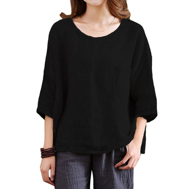 37ad1f73036 plus size Womens Vintage t shirt Flax 3 4 Sleeve O Neck Cotton Linen Loose Tunic  Shirt Tops