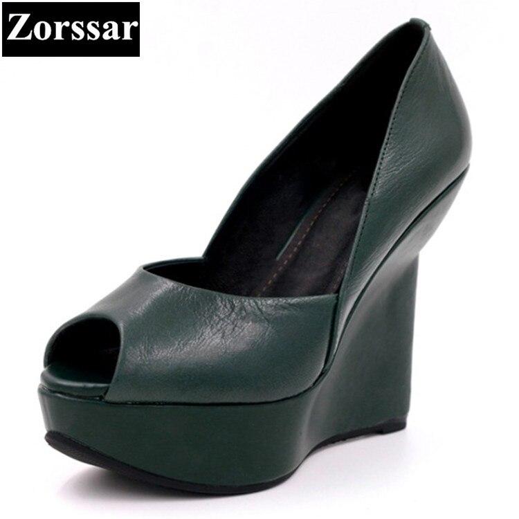 Estate scarpe da donna sandali della piattaforma del cuneo delle donne di alta scarpe tacchi Verde, nero 2017 NUOVO delle donne del cuoio Genuino peep toe pompe