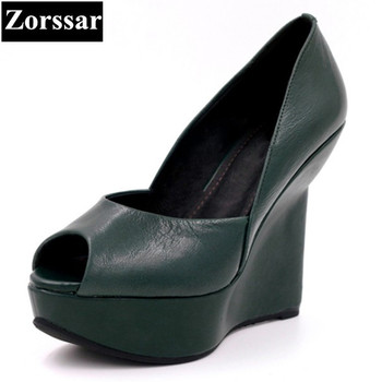 Summer woman shoes platform wedge sandals women high heels shoes Green, black 2017 NEW Genuine leather womens peep toe pumps