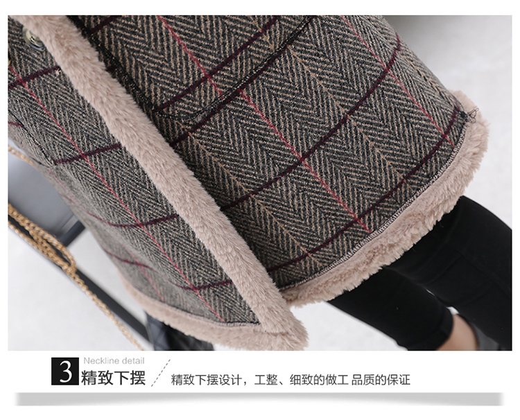 Lamb fur-padded 2018 winter women's new loose-fitting mid-length padded check wool coat, cotton-padded jacket 12