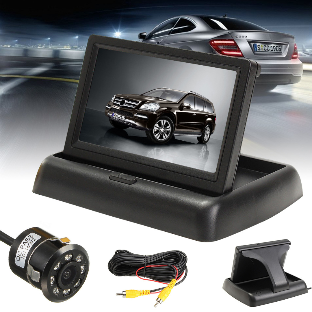 Mayitr 1 Set 4.3 Foldable LCD Monitor + Night Vision Car Rear View Reverse Backup Camera Kits for Car Parking органайзер little tikes органайзер карман для детских принадлежностей seat pal серый