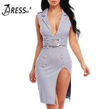 INDRESSME 2017 New Women Sexy Solid Sashes Button Tank V-Neck Summer Dress