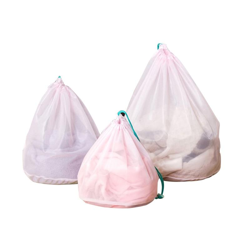 3 pcs/set Mesh Drawstring Laundry Bags Home Storage Organization Wholesale Bulk Lots Accessories Supplies Products