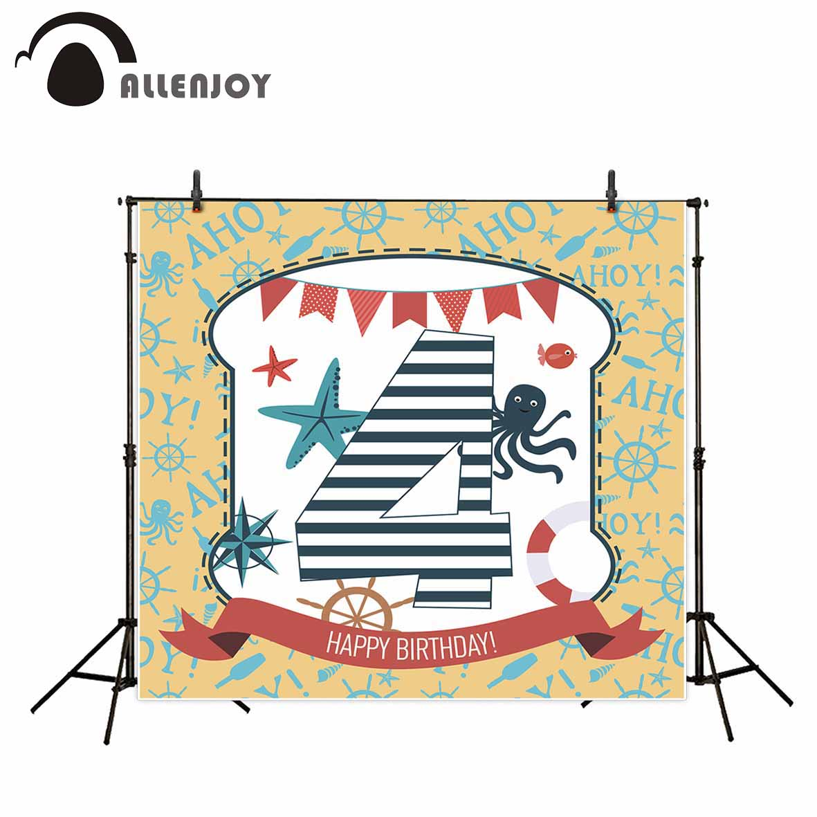 Allenjoy photography backdrops sea theme birthday background baby banners background for photo child photography