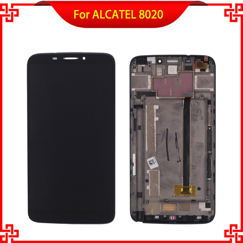 LCD Display Touch Screen Digitizer Assembly with Frame For ALCATEL One Touch Hero OT8020 8020 8020D Mobile Phone LCDs lcd for htc one m8 lcd display touch screen digitizer assembly with frame repair black silver gold