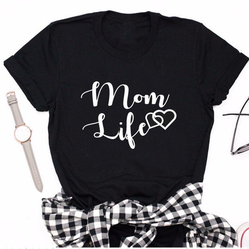 Mamá vida corazón Camiseta Mujer verano algodón Casual Mama oso Hipster mamá Camiseta Haajuku Mujer Camisetas Camiseta