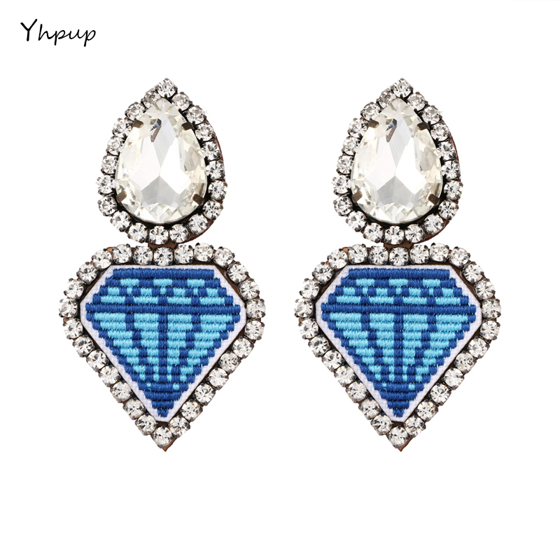 Yhpup 2018 New Fashion Funny Heart Leather Clip Earrings For Women Statement Big Rhinestone Trendy Charm Earrings Jewelry pair of trendy rhinestone oval leaf earrings for women page 1