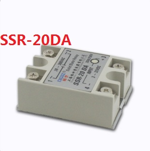 DC control AC Solid State Relay SSR 20A with Protective Flag SSR-20DA 20A [vk] mcbc1250cl ssr 50a burst fire control 10v relays