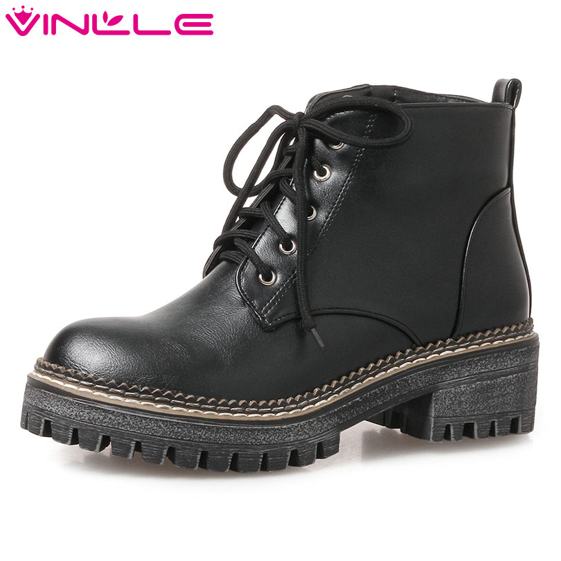 Vinlle 2018 Women Boots Shoes Ankle Boots Lace Up Square