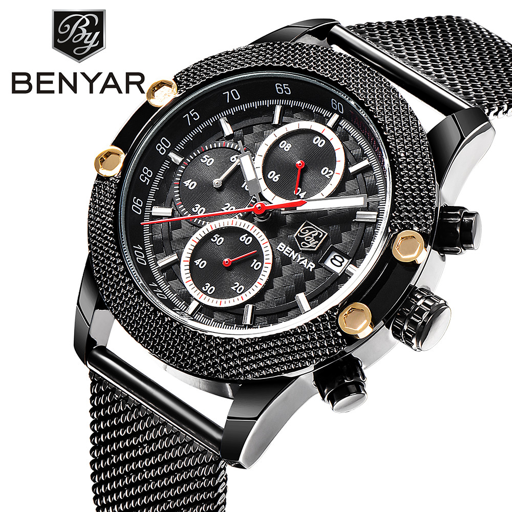 Top Brand BENYAR Mens Watches Fashion Chronograph Sport Military Quartz Business Watch Reloj Hombre Clock men Relogio Masculino vh mens watches men business watch clock horloges mannen top brand luxury military quartz wrist watch reloj hombre