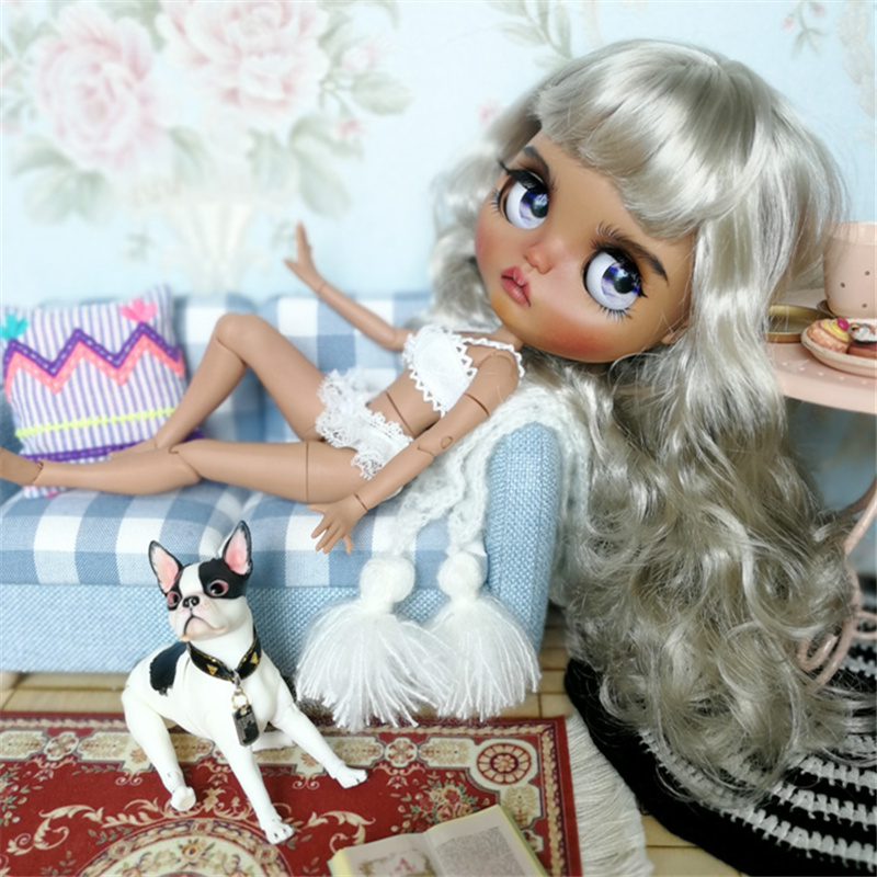 factory blyth doll grey silver platinum blonde hair dark skin joint body 1/6 30cm BL8800-in Dolls from Toys & Hobbies    1