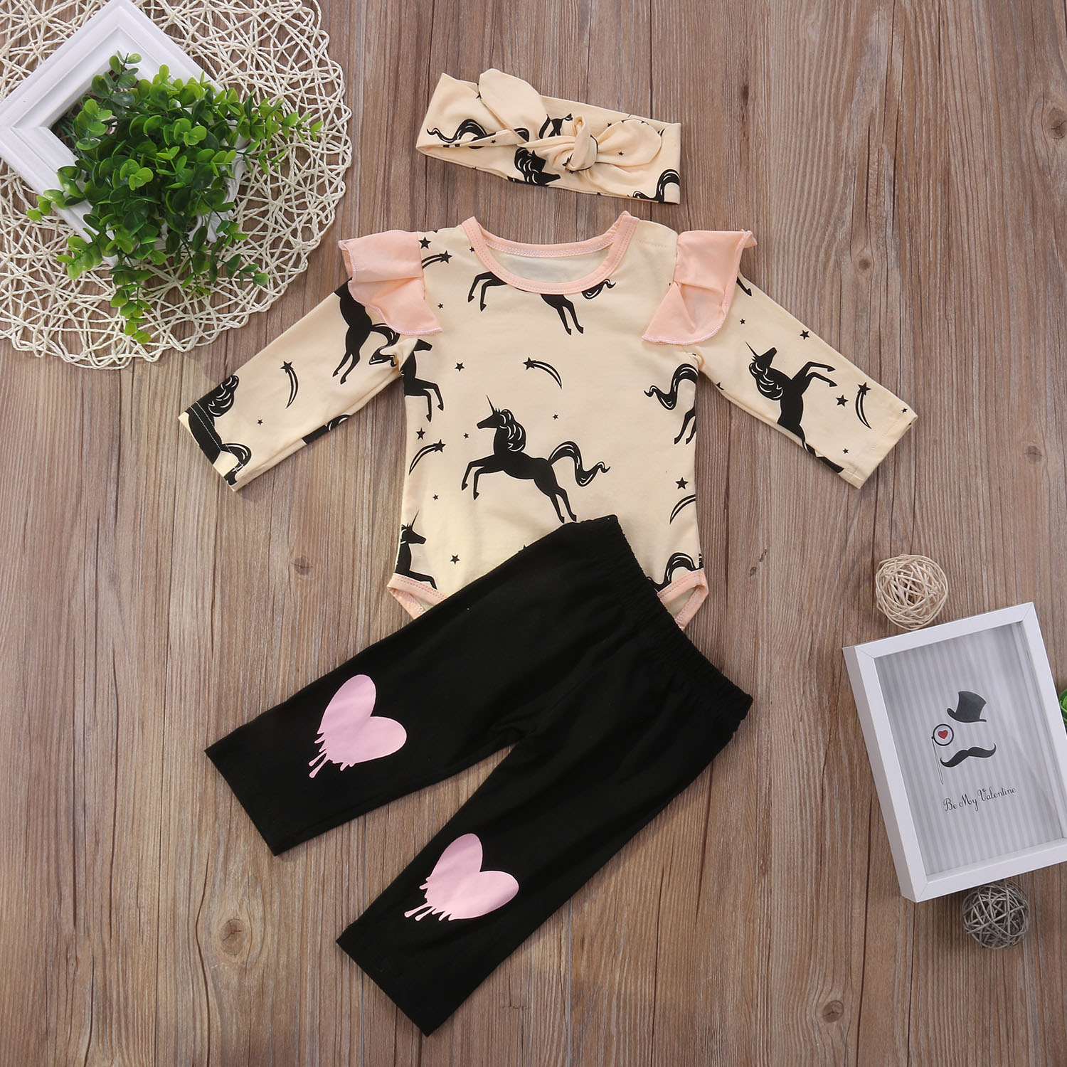 Cute 3PCS Set Newborn Kids Baby Girl Clothes Cotton Pony Romper Tops Long Pants Headbands Outfits