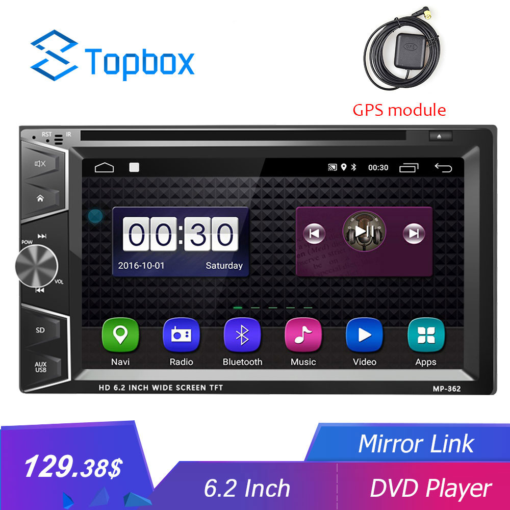 Topbox Android Car Multimedia player 2 Din 7'' HD Car DVD GPS Radio Bluetooth Autoradio Mirror Link Wifi 2Din Audio Stereo