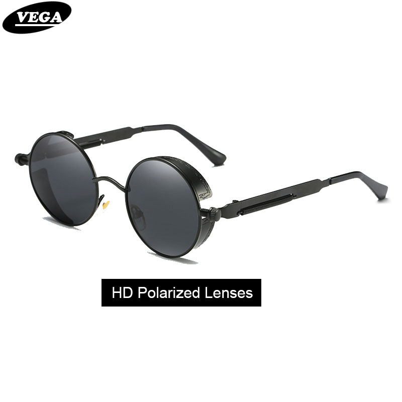 VEGA Polarized Steampunk Sunglasses Men Women Round Gothic Steam Punk Goggle Metal Vintage HD Vision Sunglass 372