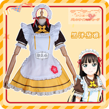Anime lovelive  sunshine Aqours Kurosawa Dia Cosplay Costume Restaurant cafe dessert stripe maid outfit
