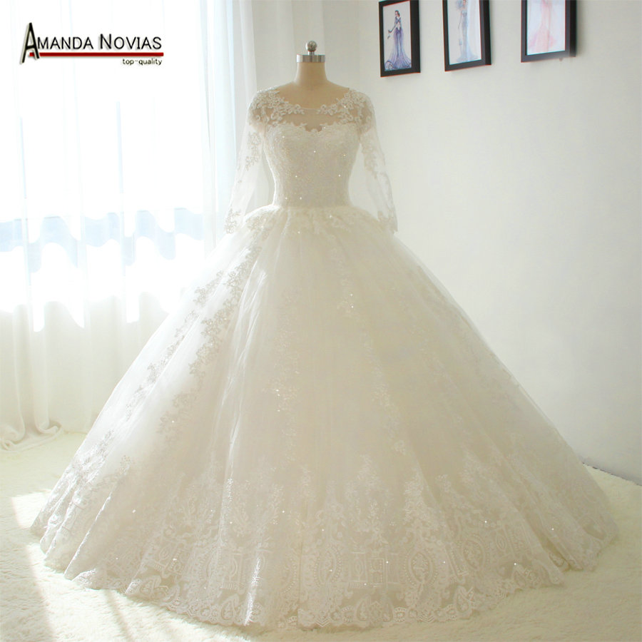 Straps long sleeves puffy ball gown wedding dresses no for Wedding dress no train
