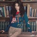 2016 зима женщины с мода проектирование грубой взлетно-посадочной полосы вышивка теплый свитер высокое качество толстой Pullovers свитера
