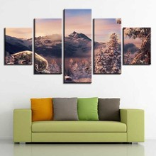 HD Canvas Pictures Modular Posters 5 Pieces Animal Wolf Mountain Natural Landscape Paintings Printing Living Room Wall Art Decor