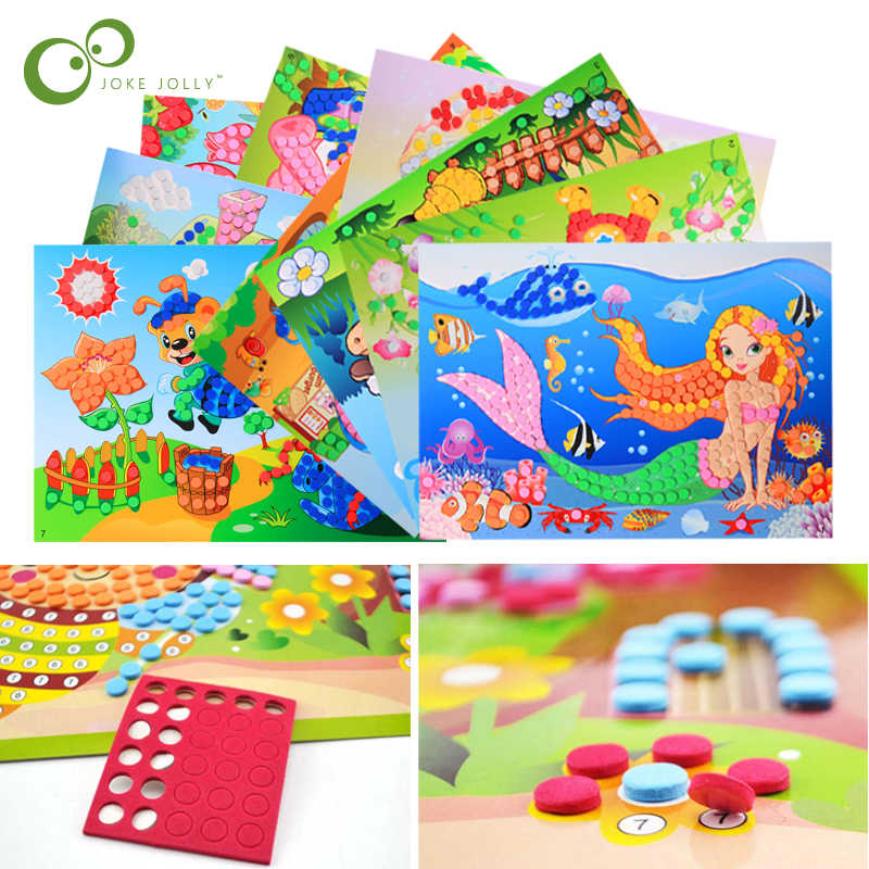 3D DIY Foam  Crystal Stickers Art EVA Children Puzzle Cartoon Creative Educational Craft Toys For Kid  Chtistmas Gift GYH