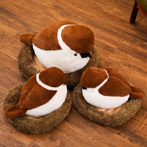 Image 4 - Sparrows Family Plush Toy Flying Brown Bird Lifelike Tree Animals Stuffed Doll with Nest Kids Comforting Gift