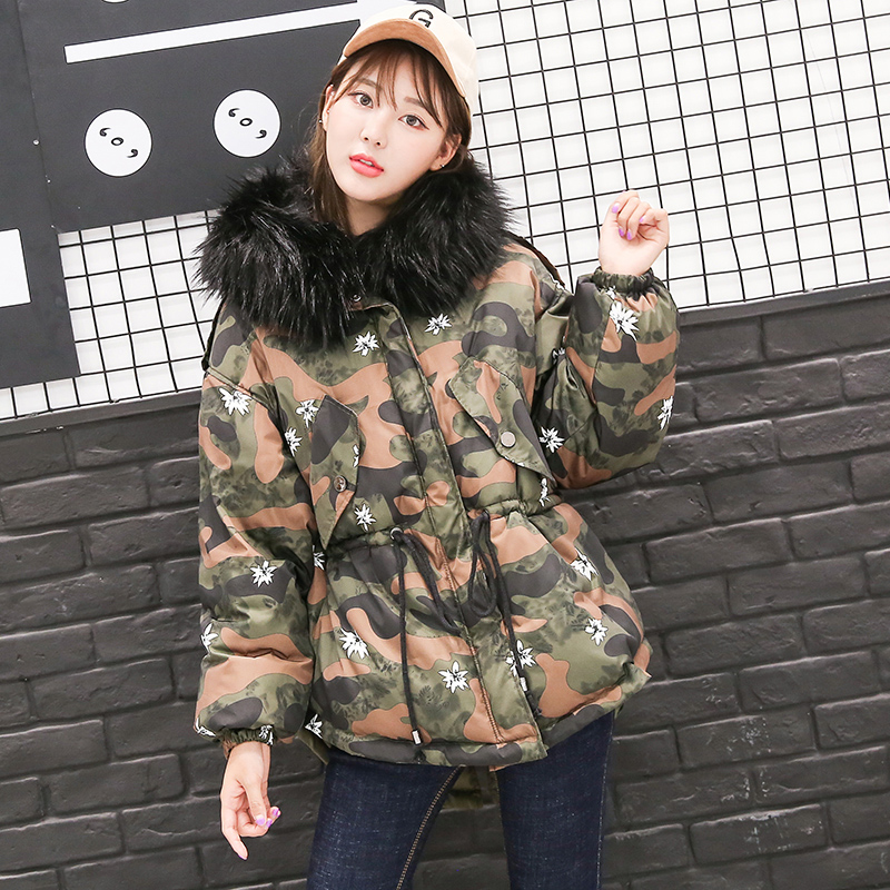 2017 Autumn Winter New Female Casual Slim Cotton-padded Coats Women Hooded Feathers Collar Camouflage Zipper Parkas A1013B#609 winter jacket women 2017 new female 5 color slim cotton padded jackets fashion short hooded zipper parkas coats a1013b 16601