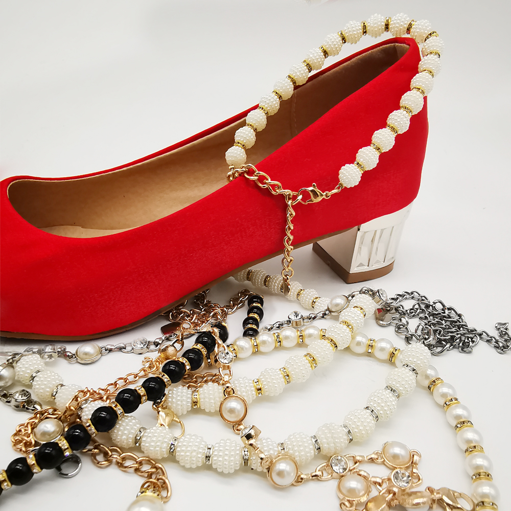 Leyou Jewelry Shoes Band For Heel Strap Pearls Crystal Shoes Belt Decorations High Heel Shoes Decorations Ankle Chains For Women