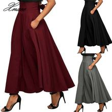 Vintage Women Stretch High Waist Skirt Belt Flared Pleated Swing Long Party Skirt stretch knit swing skirt