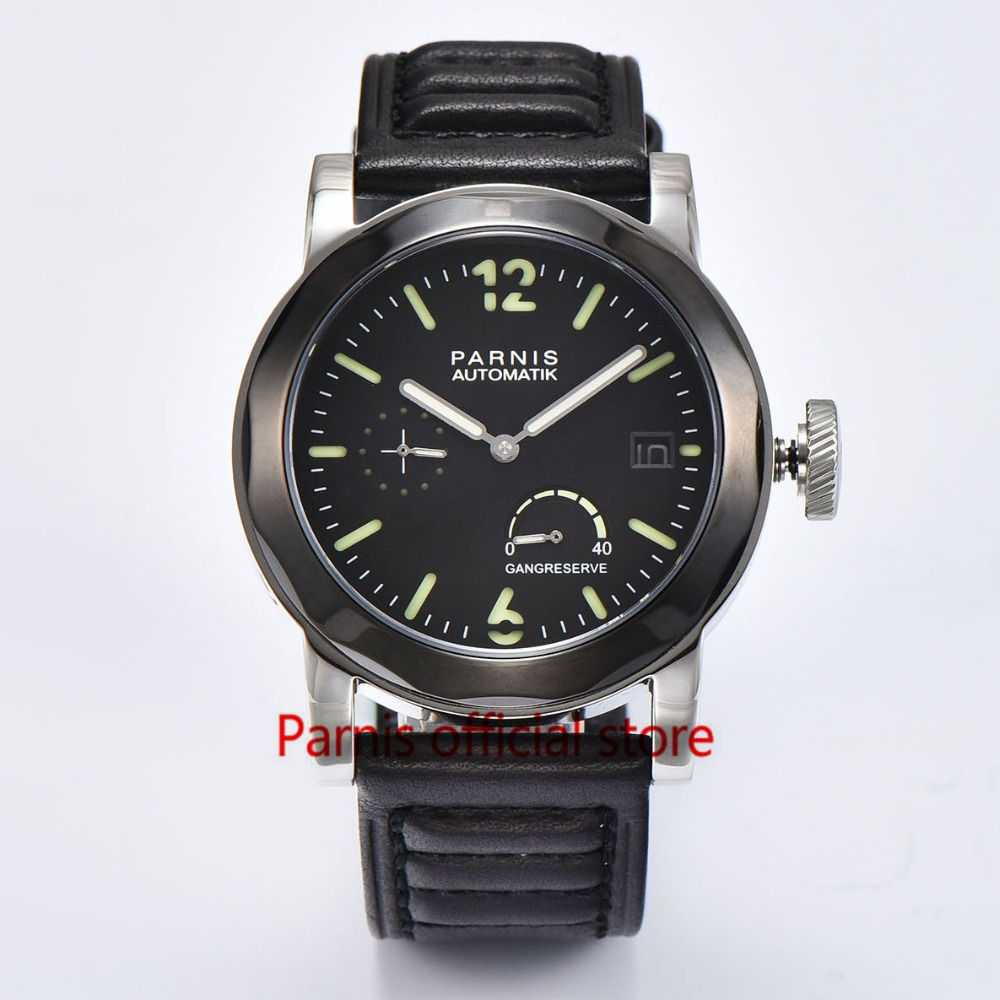 Fashion Men Watch 43mm Parnis Automatic Mechanical Watches SeaGull Automatic Power Reserve Black Auto Date Mechanical Wristwatch