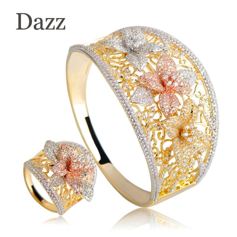 Dazz Special Design Lily Flower Shape Wide Bangle Ring Sets Three Tones Color Copper Jewelry Set Full Rhinestones Wedding Bijoux цена