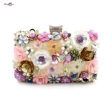 Moccen 2017 Ladies Flower Clutch Evening Handbag Classic Designer Handbags High Quality Wallet Pary Purse Shoulder Bag