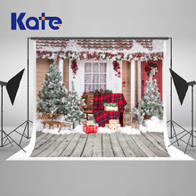 Kate  Christmas Photography Backdrop House Christmas Tree Backgrounds For Photo Studio Wood Washable Studio Background цены