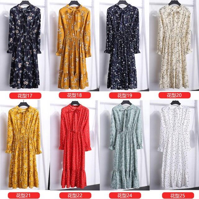 29 Colors Beautiful Fashion Spring Autumn New Women Long Sleeved Dress Retro Collar Casual Slim Dresses Floral Printing Chiffon 5