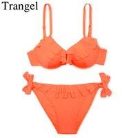 Trangel Bikinis Women Swimwear Bandeau Bikini Push Up Swimsuit Halter Padded Bikini Set Solid Maillot De