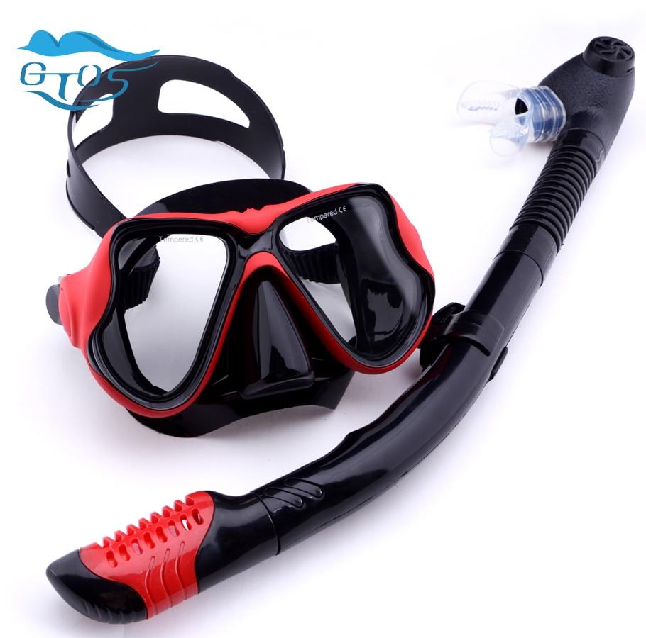 HDFD Set de Snorkel Adultos Set de Snorkel seco antiniebla M/áscara de Buceo de Vidrio Templado M/áscara panor/ámica de visi/ón Amplia Gafas de Buceo Equipo de Snorkel de Silicona Profesional