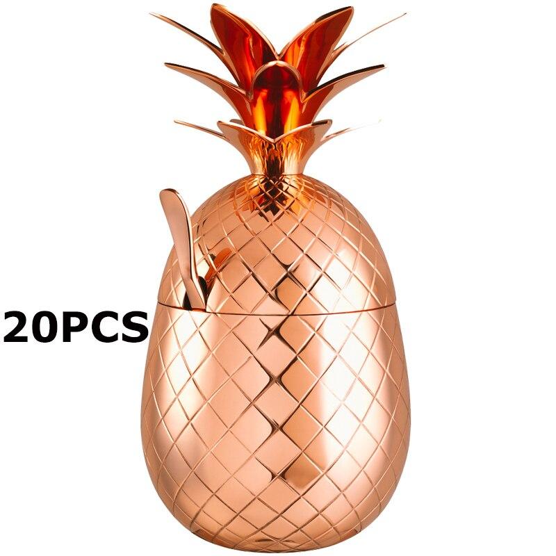 Commercio All'ingrosso Libero di trasporto Ananas Bicchiere/Stainless Steel Mug Cup Disponibile in 2 colori Cocktail Bere Tazze Delle Tazze confezione da 20-in Tazze da Casa e giardino su  Gruppo 1
