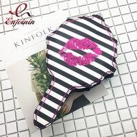Vui thiết kế độc đáo sọc sexy lips gương makeup ladies túi xách túi thống evening đảng túi xách phụ nữ vai & sứ túi