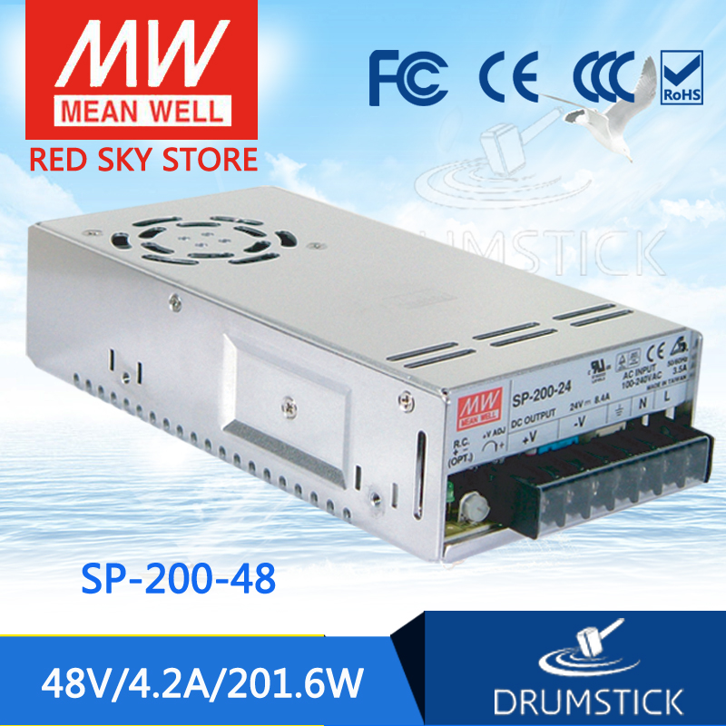 MEAN WELL SP-200-48 48V 4.2A meanwell SP-200 48V 201.6W Single Output with PFC Function Power Supply [Real4] mean well usp 150 48 48v 3 2a meanwell usp 150 48v 153 6w u bracket with pfc function power supply